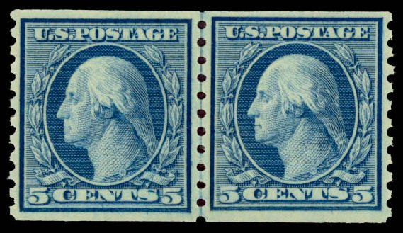 Price of US Stamps Scott Catalog #496: 1919 5c Washington Coil Perf 10 Vertically. Daniel Kelleher Auctions, May 2015, Sale 669, Lot 3088