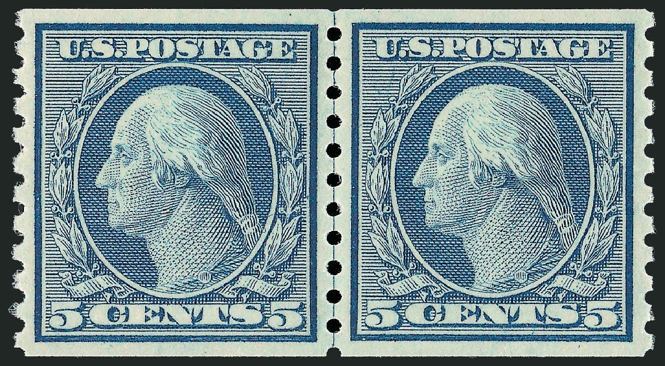 US Stamps Value Scott Catalog #496: 5c 1919 Washington Coil Perf 10 Vertically. Robert Siegel Auction Galleries, Dec 2013, Sale 1062, Lot 694