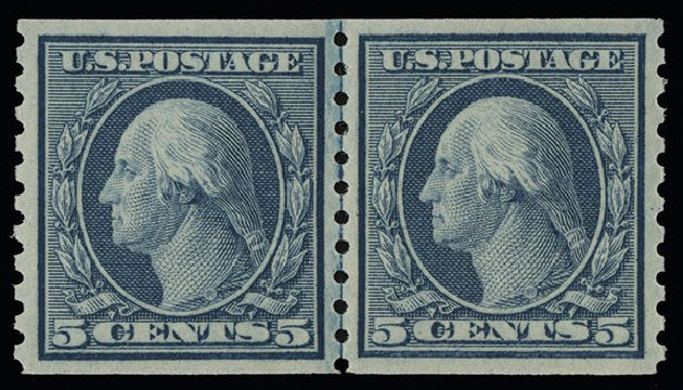 US Stamp Values Scott Catalog #496 - 5c 1919 Washington Coil Perf 10 Vertically. Spink Shreves Galleries, Aug 2013, Sale 144, Lot 264