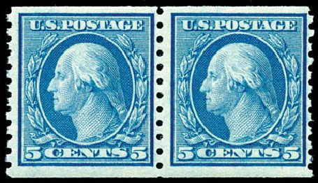 US Stamp Prices Scott Catalog 496: 5c 1919 Washington Coil Perf 10 Vertically. Schuyler J. Rumsey Philatelic Auctions, Apr 2015, Sale 60, Lot 2412