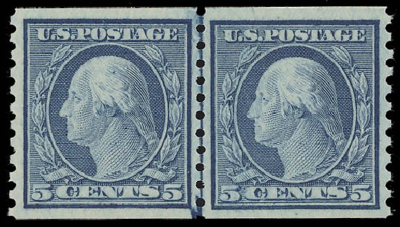 Prices of US Stamp Scott Catalog # 496 - 1919 5c Washington Coil Perf 10 Vertically. Daniel Kelleher Auctions, Aug 2015, Sale 672, Lot 2763