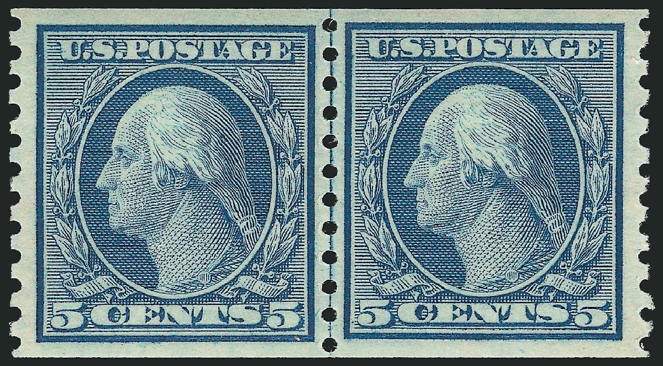 US Stamp Values Scott Catalogue 496 - 5c 1919 Washington Coil Perf 10 Vertically. Robert Siegel Auction Galleries, Feb 2015, Sale 1093, Lot 436