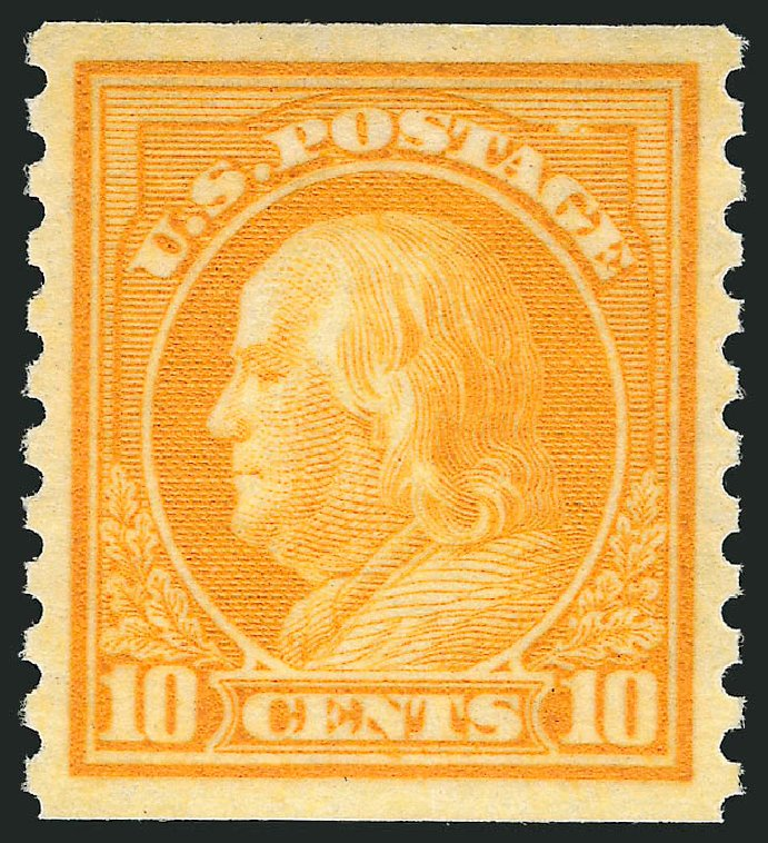 US Stamps Value Scott Catalogue #497 - 1922 10c Franklin Coil Perf 10 Vertically. Robert Siegel Auction Galleries, Dec 2014, Sale 1090, Lot 1547