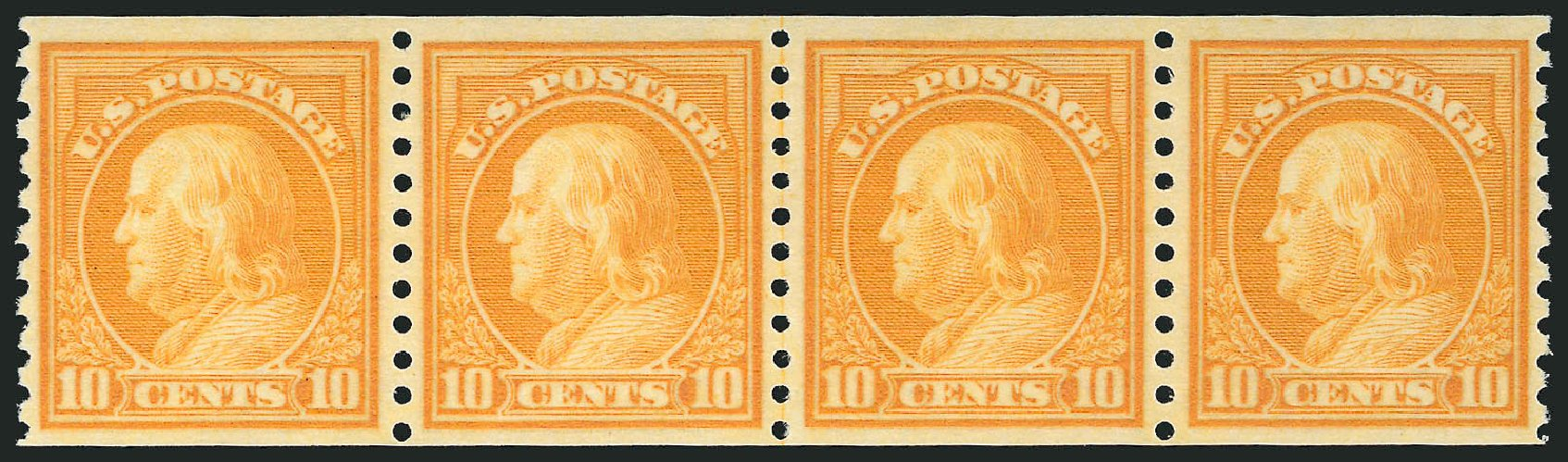 US Stamps Value Scott Catalog # 497 - 10c 1922 Franklin Coil Perf 10 Vertically. Robert Siegel Auction Galleries, Feb 2015, Sale 1093, Lot 438