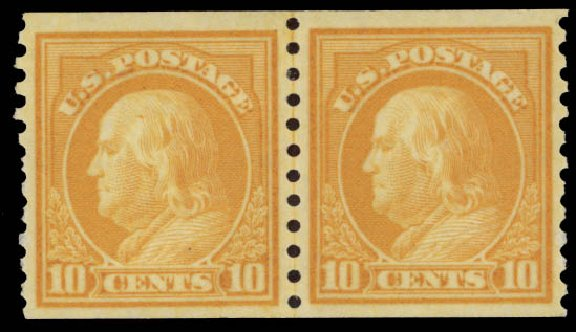 Costs of US Stamp Scott Cat. #497: 1922 10c Franklin Coil Perf 10 Vertically. Daniel Kelleher Auctions, May 2015, Sale 669, Lot 3089