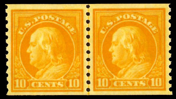 US Stamps Values Scott Catalog #497: 10c 1922 Franklin Coil Perf 10 Vertically. Daniel Kelleher Auctions, Dec 2012, Sale 633, Lot 870