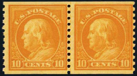 Cost of US Stamps Scott Cat. 497 - 1922 10c Franklin Coil Perf 10 Vertically. Harmer-Schau Auction Galleries, Oct 2012, Sale 95, Lot 254