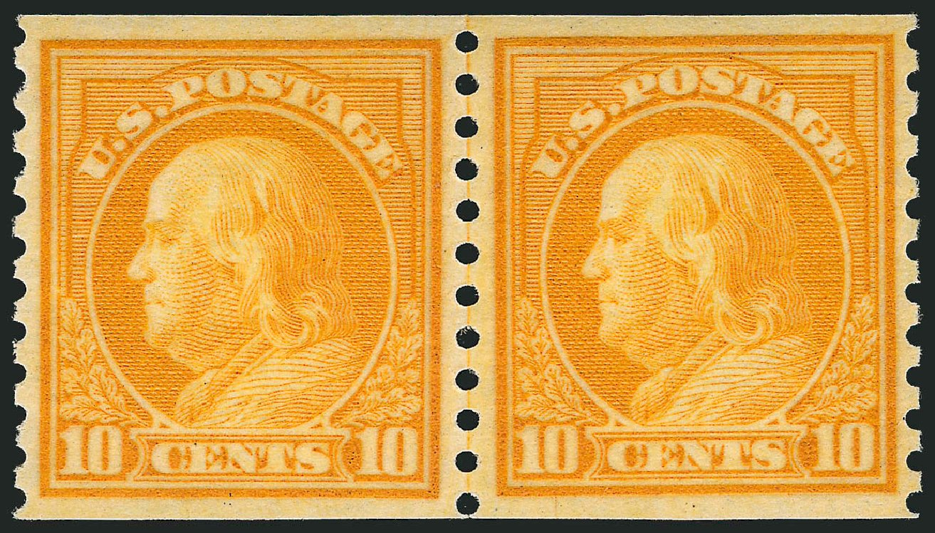 Costs of US Stamps Scott Catalogue # 497 - 10c 1922 Franklin Coil Perf 10 Vertically. Robert Siegel Auction Galleries, Nov 2012, Sale 1034, Lot 454