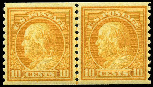 US Stamps Price Scott Catalogue 497: 10c 1922 Franklin Coil Perf 10 Vertically. Matthew Bennett International, May 2014, Sale 350, Lot 635