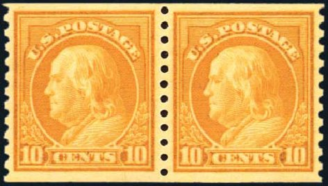 US Stamps Prices Scott Cat. # 497 - 1922 10c Franklin Coil Perf 10 Vertically. Harmer-Schau Auction Galleries, Oct 2010, Sale 87, Lot 315