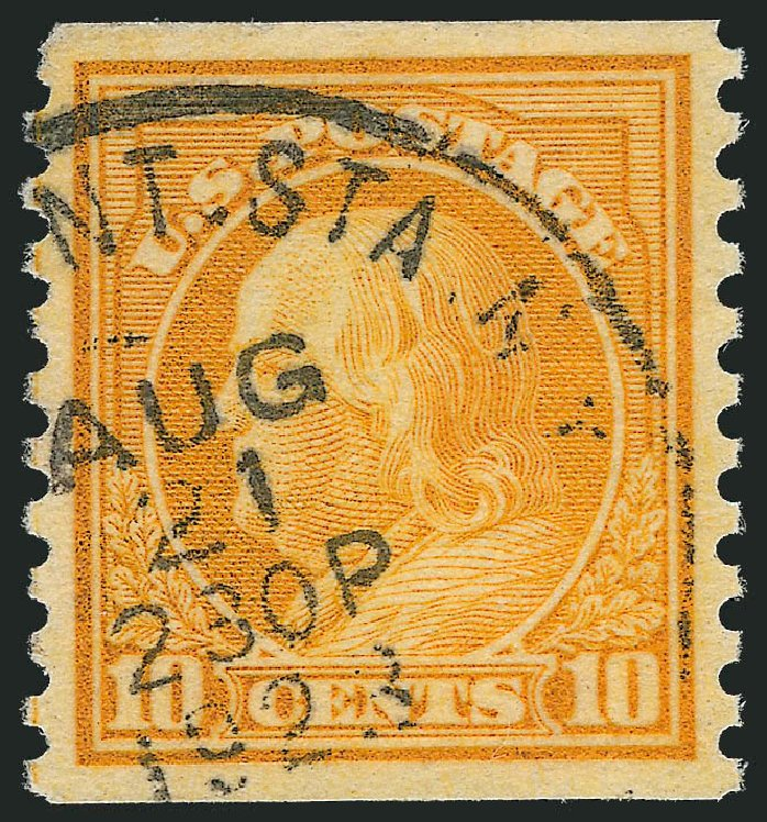 US Stamps Price Scott # 497: 1922 10c Franklin Coil Perf 10 Vertically. Robert Siegel Auction Galleries, Oct 2012, Sale 1032, Lot 3585