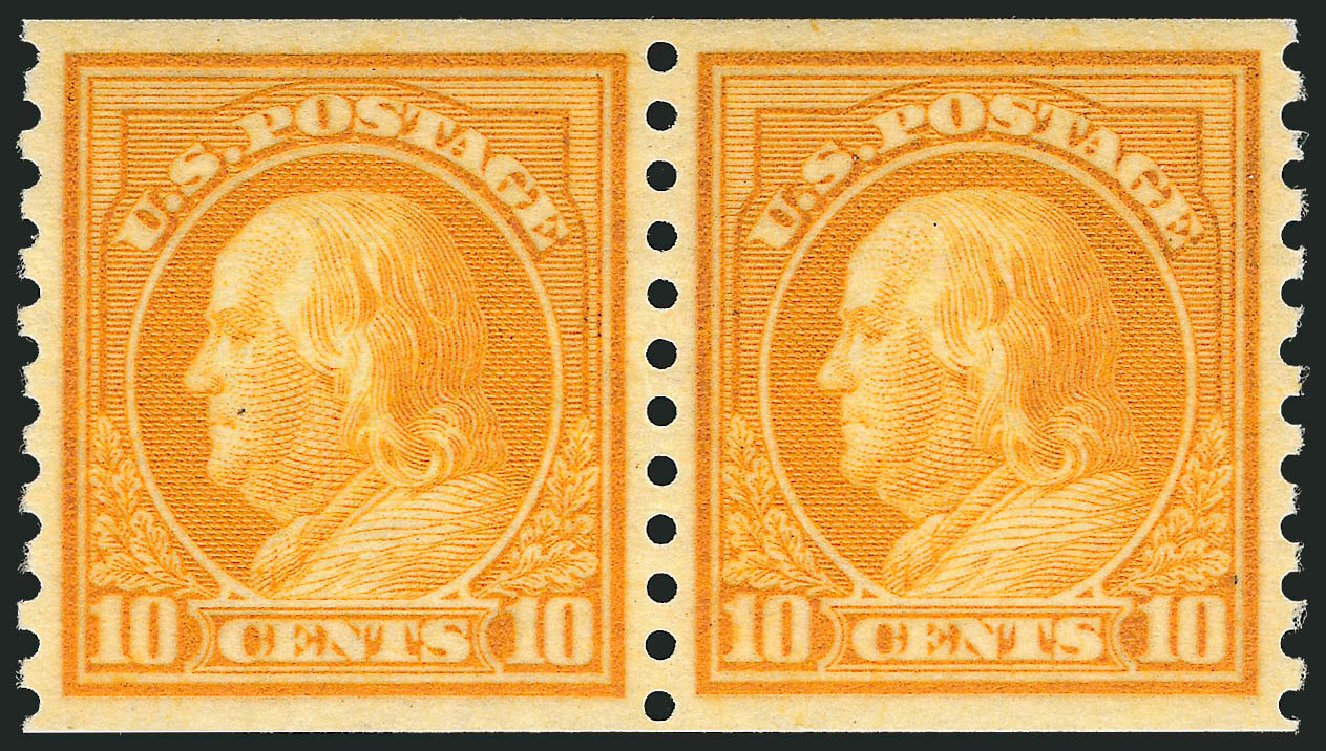 Values of US Stamps Scott Catalogue # 497 - 10c 1922 Franklin Coil Perf 10 Vertically. Robert Siegel Auction Galleries, Jul 2013, Sale 1050, Lot 605
