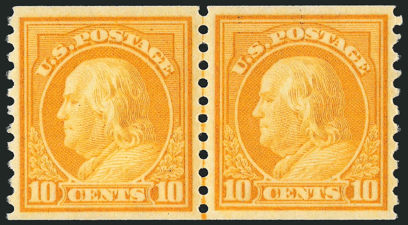Cost of US Stamps Scott #497 - 1922 10c Franklin Coil Perf 10 Vertically. Robert Siegel Auction Galleries, Dec 2013, Sale 1062, Lot 695