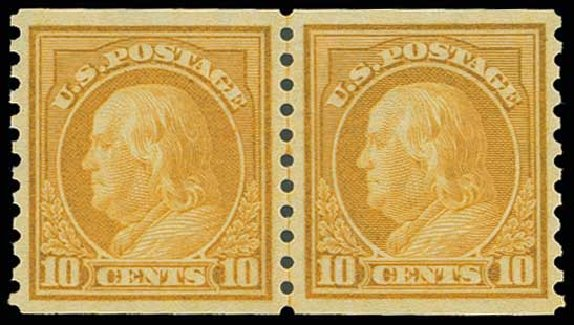 US Stamps Values Scott #497 - 1922 10c Franklin Coil Perf 10 Vertically. H.R. Harmer, Jun 2013, Sale 3003, Lot 1343