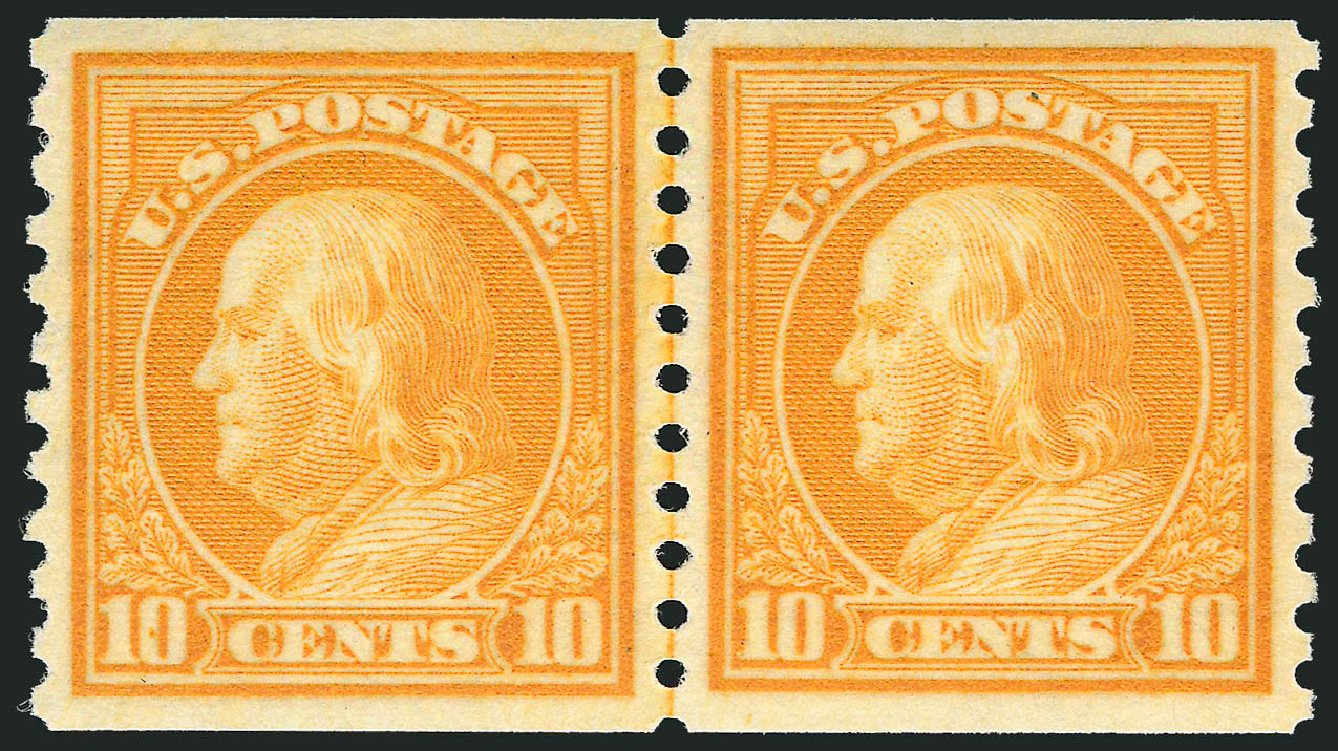 Price of US Stamp Scott Catalogue # 497 - 10c 1922 Franklin Coil Perf 10 Vertically. Robert Siegel Auction Galleries, Dec 2013, Sale 1062, Lot 696