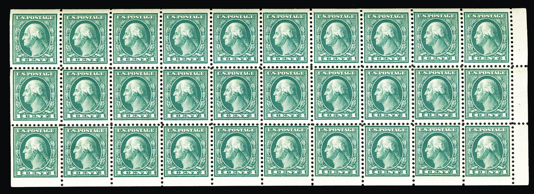 Values of US Stamp Scott Cat. 498: 1c 1917 Washington Perf 11. Cherrystone Auctions, Jul 2015, Sale 201507, Lot 2166