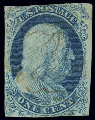 Values of US Stamp Scott Catalogue 5: 1851 1c Franklin. Daniel Kelleher Auctions, Feb 2013, Sale 634, Lot 5
