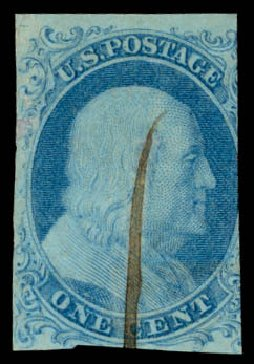 US Stamp Prices Scott Cat. 5 - 1851 1c Franklin. Daniel Kelleher Auctions, Sep 2013, Sale 639, Lot 3096