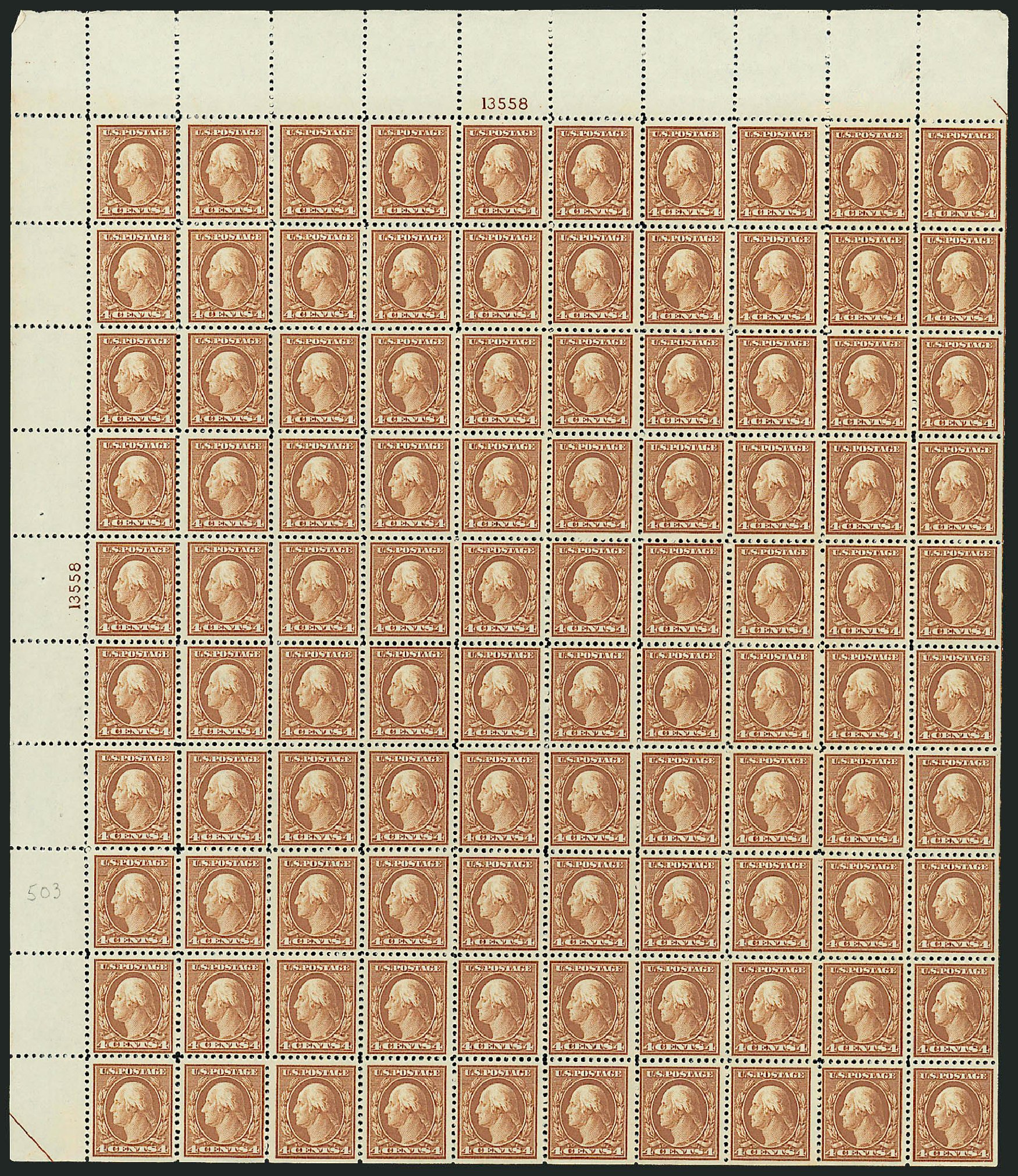 US Stamps Values Scott 503 - 4c 1917 Washington Perf 11. Robert Siegel Auction Galleries, Mar 2013, Sale 1040, Lot 1893