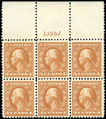 US Stamp Prices Scott Cat. 503 - 4c 1917 Washington Perf 11. Schuyler J. Rumsey Philatelic Auctions, Apr 2015, Sale 60, Lot 2926
