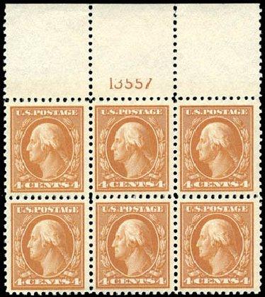 US Stamp Prices Scott Cat. 503 - 4c 1917 Washington Perf 11. Schuyler J. Rumsey Philatelic Auctions, Apr 2015, Sale 60, Lot 2926