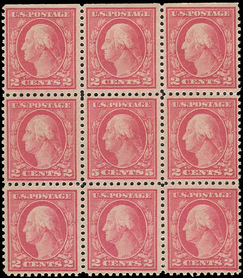 US Stamps Value Scott Catalogue #505: 1917 5c Washington Perf 11 Error. Regency-Superior, Aug 2015, Sale 112, Lot 908