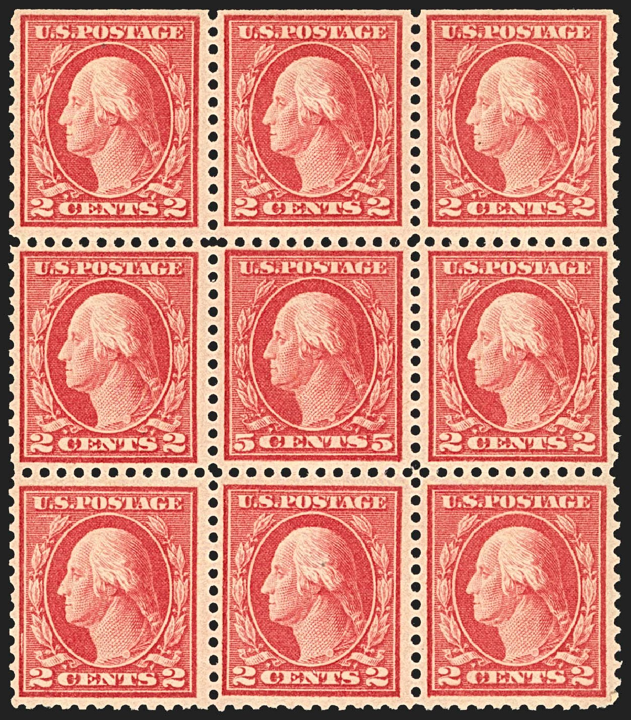 US Stamps Value Scott Catalog #505 - 5c 1917 Washington Perf 11 Error. Robert Siegel Auction Galleries, Jul 2015, Sale 1107, Lot 499