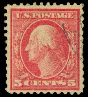 US Stamp Prices Scott Cat. 505 - 5c 1917 Washington Perf 11 Error. Daniel Kelleher Auctions, Aug 2015, Sale 672, Lot 2773