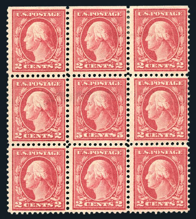 US Stamps Values Scott Catalog #505 - 1917 5c Washington Perf 11 Error. Harmer-Schau Auction Galleries, Aug 2015, Sale 106, Lot 1856