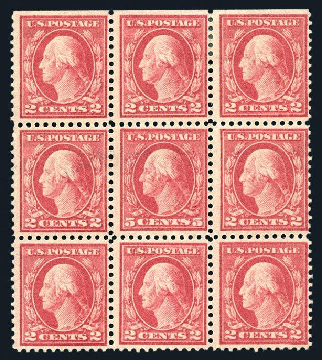 US Stamps Values Scott Catalog #505 - 1917 5c Washington Perf 11 Error. Harmer-Schau Auction Galleries, Aug 2015, Sale 106, Lot 1856