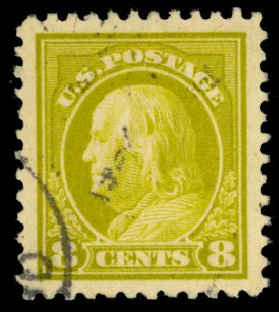 Cost of US Stamps Scott Cat. # 508: 8c 1917 Franklin Perf 11. Daniel Kelleher Auctions, Dec 2013, Sale 640, Lot 433