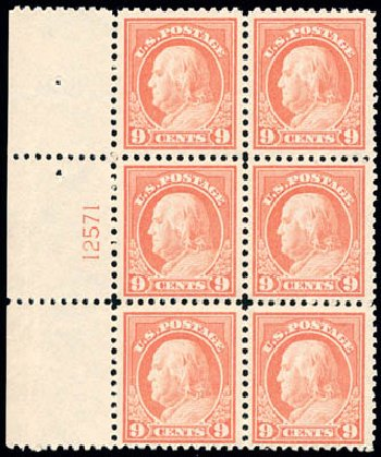 US Stamps Prices Scott Cat. #509: 9c 1917 Franklin Perf 11. Schuyler J. Rumsey Philatelic Auctions, Apr 2015, Sale 60, Lot 2930