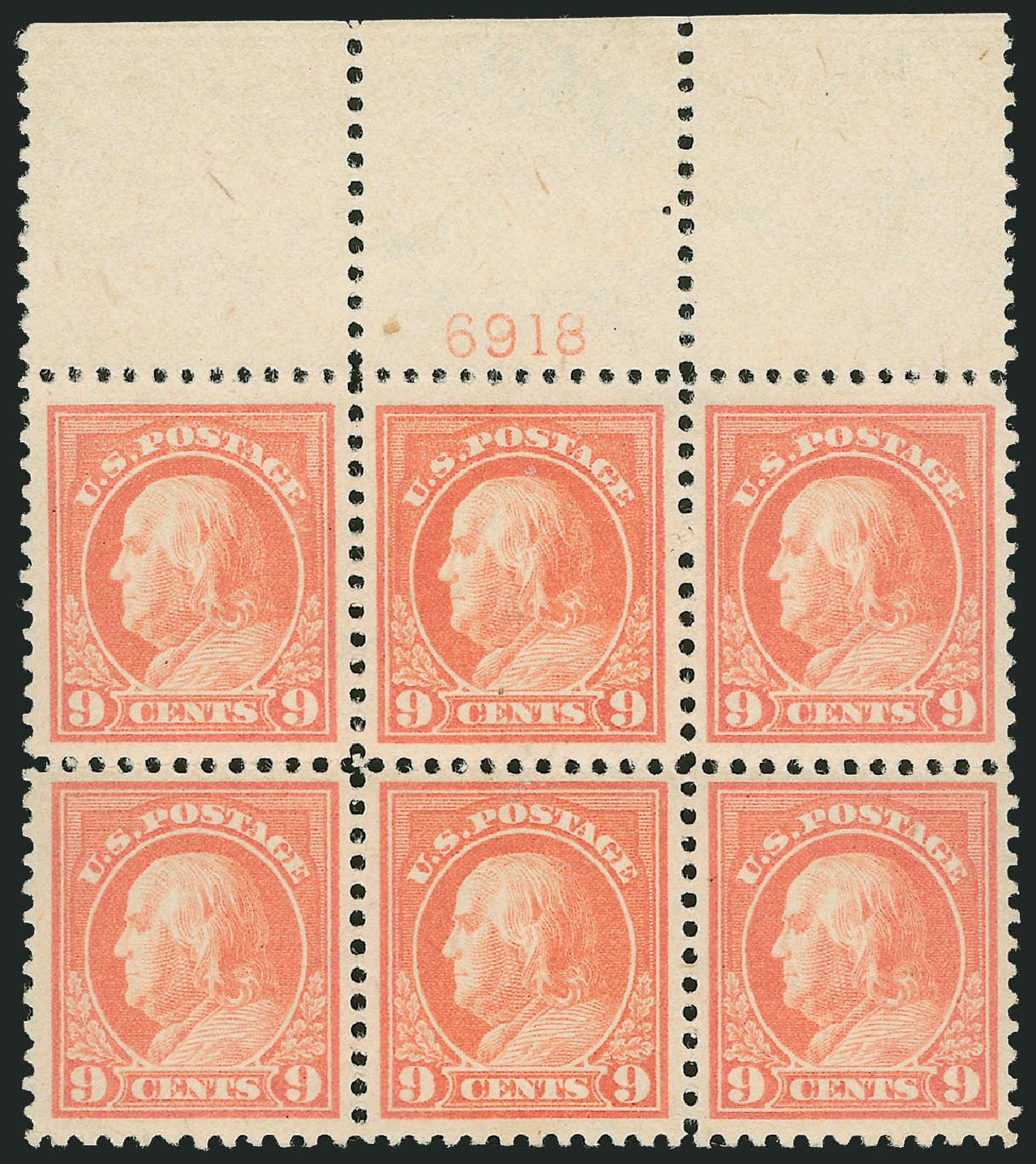 US Stamps Price Scott Cat. #509: 1917 9c Franklin Perf 11. Robert Siegel Auction Galleries, Jul 2014, Sale 1077, Lot 301