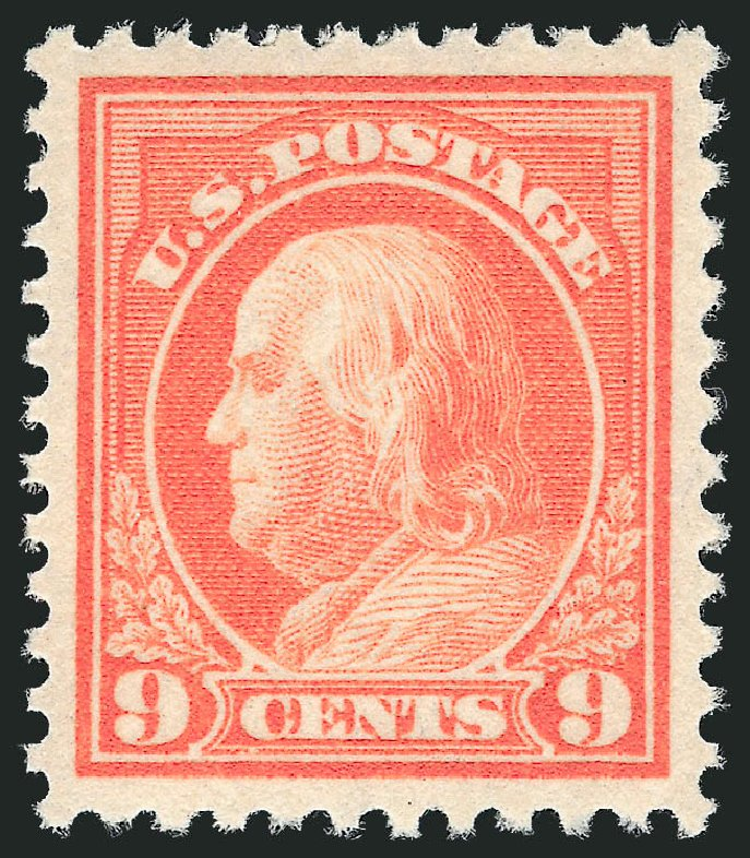 US Stamps Values Scott Catalog #509: 1917 9c Franklin Perf 11. Robert Siegel Auction Galleries, Nov 2012, Sale 1034, Lot 462