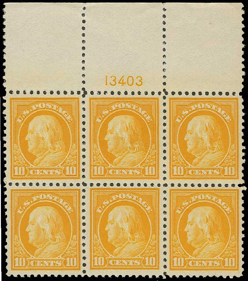 Values of US Stamps Scott #510: 10c 1917 Franklin Perf 11. H.R. Harmer, Jun 2013, Sale 3003, Lot 1355