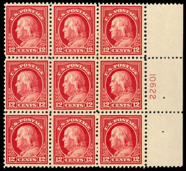 US Stamps Prices Scott #512 - 12c 1917 Franklin Perf 11. Daniel Kelleher Auctions, Jan 2015, Sale 663, Lot 1859