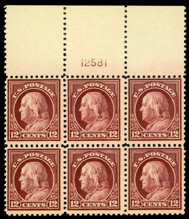 Value of US Stamp Scott Catalog 512: 1917 12c Franklin Perf 11. Daniel Kelleher Auctions, Mar 2013, Sale 635, Lot 593