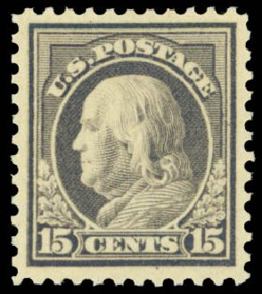 Values of US Stamps Scott #514: 15c 1917 Franklin Perf 11. Daniel Kelleher Auctions, May 2014, Sale 653, Lot 2238