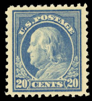 US Stamps Price Scott Catalog #515: 1917 20c Franklin Perf 11. Daniel Kelleher Auctions, Oct 2014, Sale 660, Lot 2408