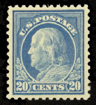 Costs of US Stamp Scott Catalog 515 - 20c 1917 Franklin Perf 11. Daniel Kelleher Auctions, Sep 2014, Sale 655, Lot 559
