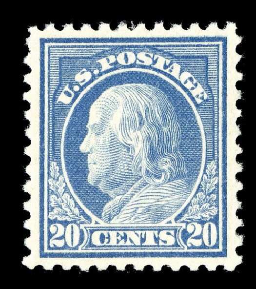 US Stamp Value Scott Catalog #515: 20c 1917 Franklin Perf 11. Spink Shreves Galleries, May 2014, Sale 148, Lot 334