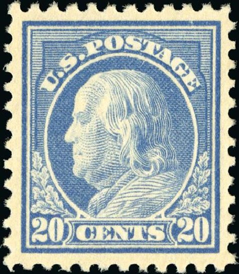 Values of US Stamps Scott Catalogue # 515 - 1917 20c Franklin Perf 11. Spink Shreves Galleries, Jan 2015, Sale 150, Lot 194