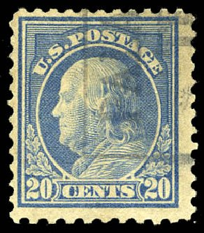 US Stamps Value Scott Catalogue #515 - 20c 1917 Franklin Perf 11. Matthew Bennett International, Feb 2015, Sale 351, Lot 212