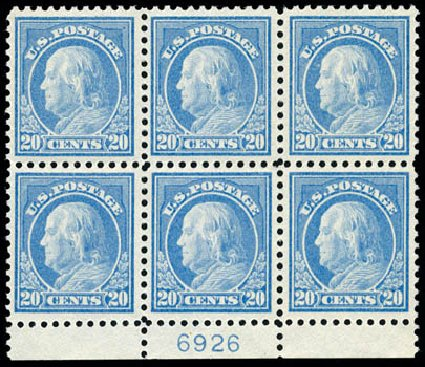 Prices of US Stamp Scott Catalog 515 - 20c 1917 Franklin Perf 11. Schuyler J. Rumsey Philatelic Auctions, Apr 2015, Sale 60, Lot 2936