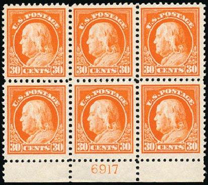 US Stamps Value Scott #516: 1917 30c Franklin Perf 11. Schuyler J. Rumsey Philatelic Auctions, Apr 2015, Sale 60, Lot 2937
