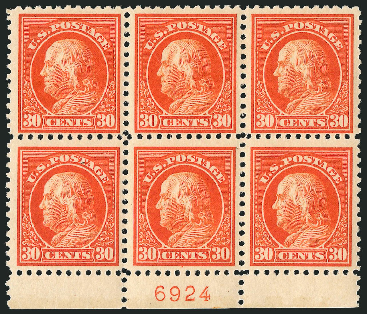 Prices of US Stamps Scott Cat. 516 - 1917 30c Franklin Perf 11. Robert Siegel Auction Galleries, Sep 2014, Sale 1078, Lot 568
