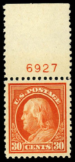 Price of US Stamp Scott # 516 - 30c 1917 Franklin Perf 11. Daniel Kelleher Auctions, Dec 2012, Sale 633, Lot 890