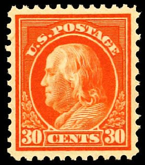 Prices of US Stamps Scott # 516: 1917 30c Franklin Perf 11. Daniel Kelleher Auctions, Dec 2012, Sale 633, Lot 891