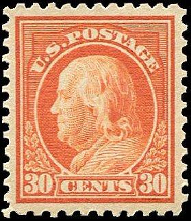 Prices of US Stamp Scott Cat. #516 - 1917 30c Franklin Perf 11. Regency-Superior, Nov 2014, Sale 108, Lot 924