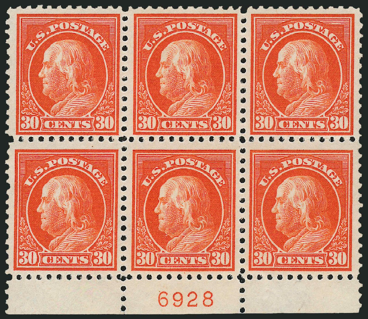 Prices of US Stamp Scott Cat. #516 - 30c 1917 Franklin Perf 11. Robert Siegel Auction Galleries, Jul 2014, Sale 1077, Lot 304